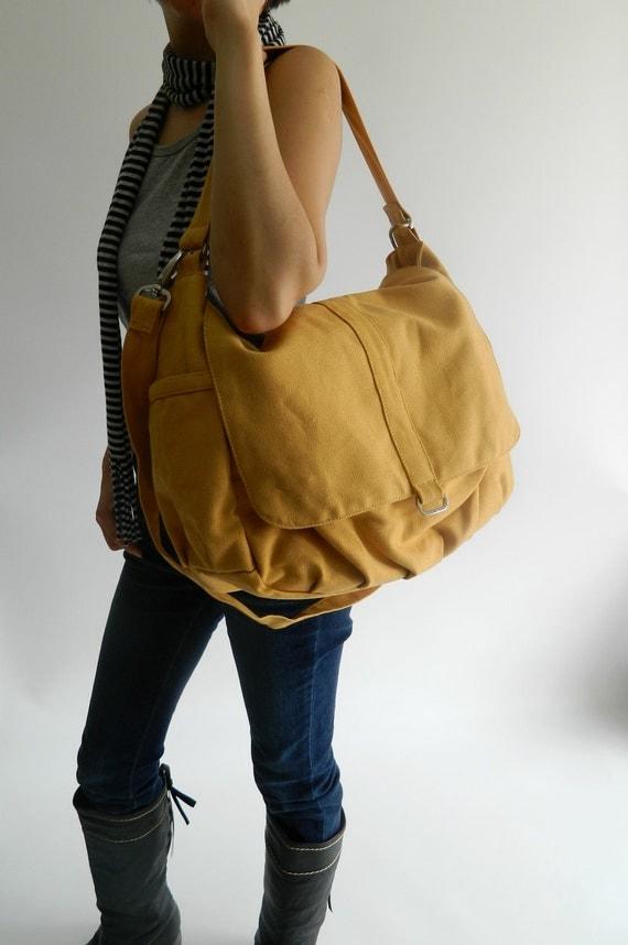 Canvas Messenger diaper bag, yellow mustard shoulder bag, cross body Handbag ,For mom,Women school bag /Christmas in July SALE 25% - DANIEL