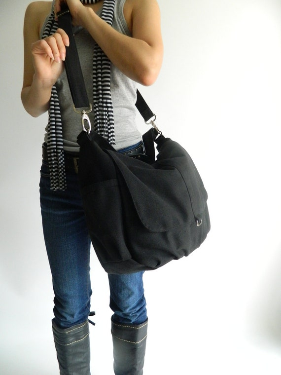 Black messenger diaper bag,Women canvas shoulder bag,cross body bag, Gift for her handbang, gift - Sale Sale Sale 30% //DANIEL