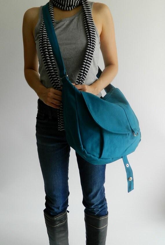 Big SALE 25%  Kylie in Teal Messenger bag / Shoulder bag / canvas Tote bag / Purse / Handbag / Women / Diaper bag / School Bag