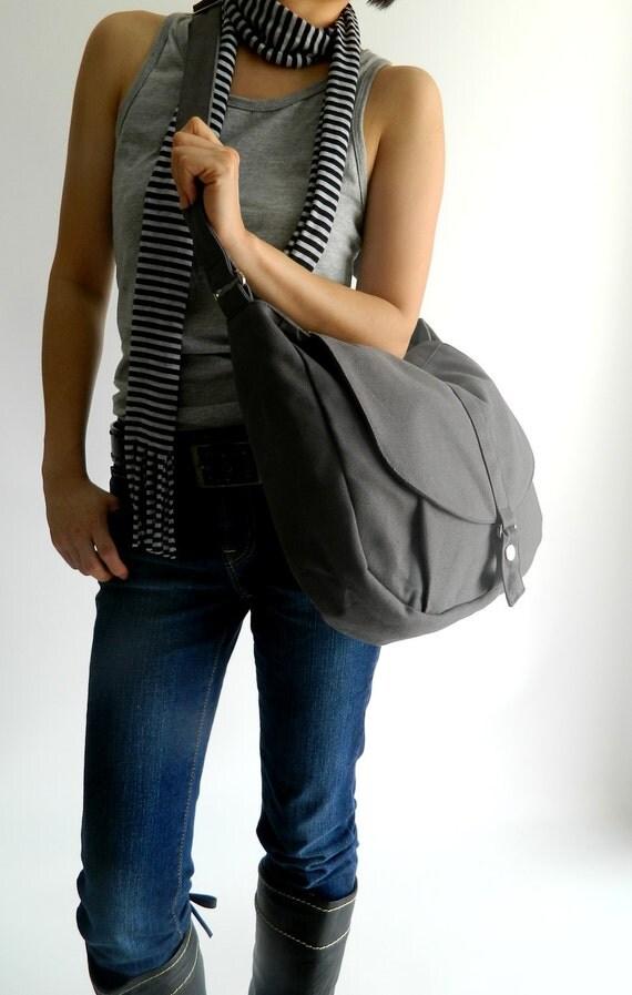 Sale Sale Sale  30% - Kylie in Gray Messenger bag /Shoulder bag /Tote bag / Purse /Handbag /Women / For her / School Bag / Diaper bag
