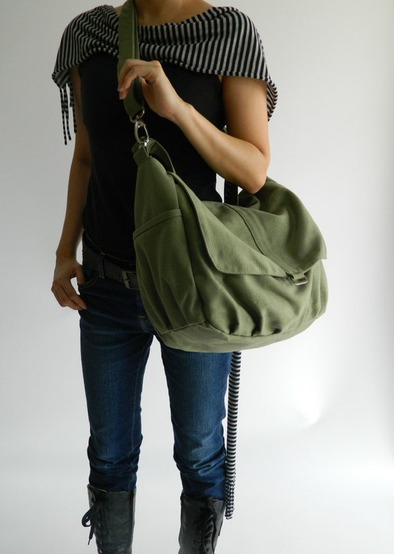 Smoke green messenger bag,Women canvas shoulder Handbag, gift for her , cross body bag ,Diaper bag for Her- Sale Sale Sale 30%/DANIEL