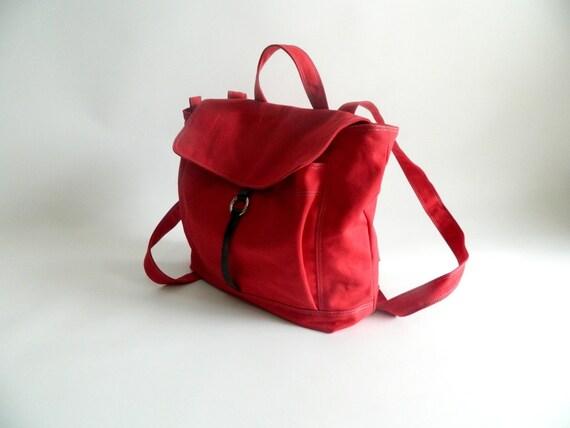 Sale Sale Sale 30% -Tanya in Red Canvas Backpack / Satchel Rucksack / Laptop bag /Tote/ Unisex /School bag/ Leather bag