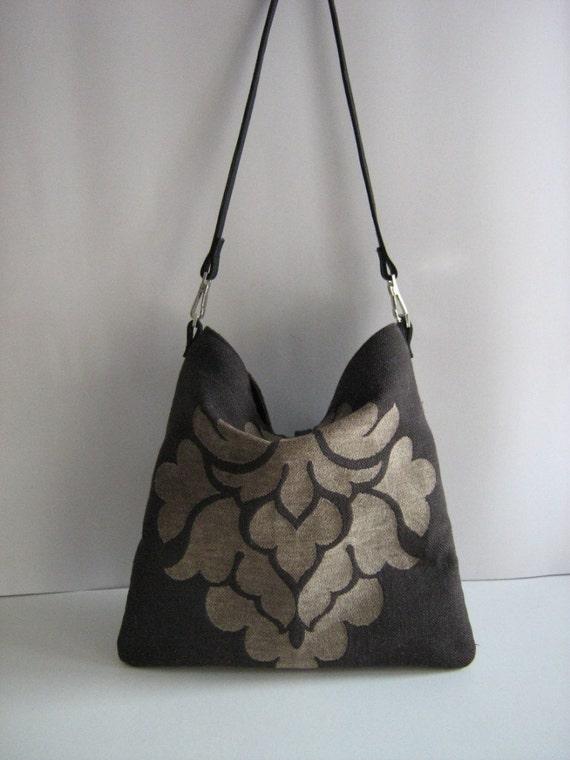 Damask -black and olive shoulder bag with leather strap