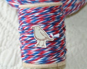 10 ply Bakers Twine, Red, White, Blue Patriotic Bakers Twine Cording, 20 Yards on Wood Spool