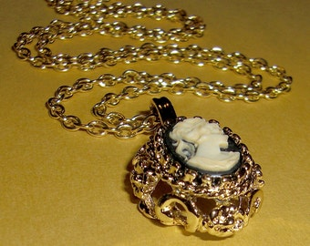 vintage gold tone chunky cameo necklace - j1429
