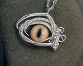 Sterling Silver Eye Pendant Steampunk Gothic Golden Evil Eye Part 13