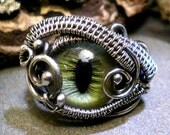 Steampunk Evil Eye Ring in Green with Gothic Undertones Size 11