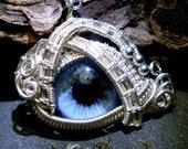 Gothic Steampunk Itty Bitty Evil Eye in Silver Wire with Blue Eye