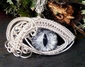 Gothic Steampunk Silver Pendant Evil Eye Grey Black Silver Gold