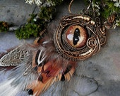 Gothic Steampunk Sable Evil Eye Brooch Pin Pendant Autumn Glory