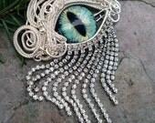 Gothic Steampunk Silver Evil Eye Pin Pendant with Green Sage Eye