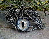 SOLD Gothic Steampunk Mink Evil Eye Pendant with Midnight Blue Eye Itty Bitty