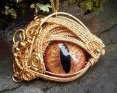 Gothic Steampunk Evil Eye Golden Splendor with Glass Eye Large