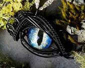 Gothic Steampunk Black Evil Eye Microbitty in Blue