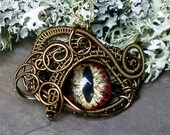 SOLD Gothic Steampunk Bronze Evil Eye Microbitty in Red Black Gold