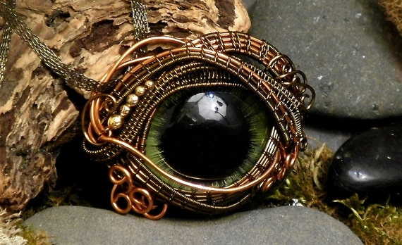 Gothic Steampunk Grande Evil Eye in Bronze and Copper Creepyness