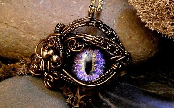 Gothic Steampunk Itty Bitty Evil Eye in Bronze Creepyness With Handpainted Glass Eye