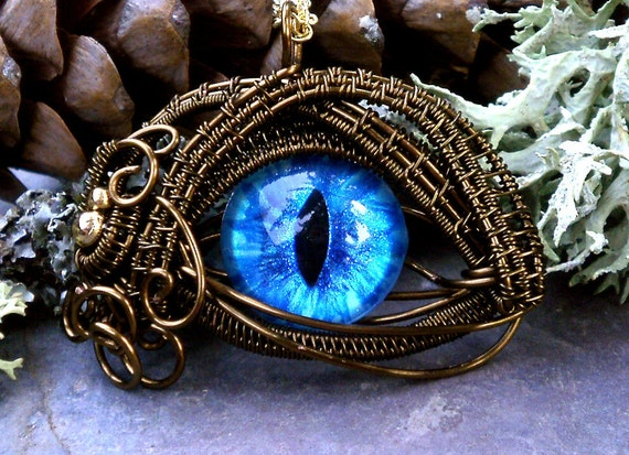 Gothic Steampunk Bronze Evil Eye Pendant Bright Blue