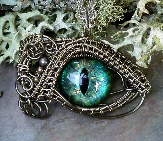 SOLD Gothic Steampunk New Sable Evil Eye Pendant Golden Blue Green