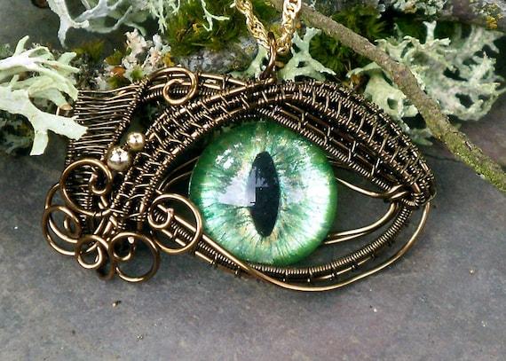 Gothic Steampunk Sable Pendant Evil Eye Green