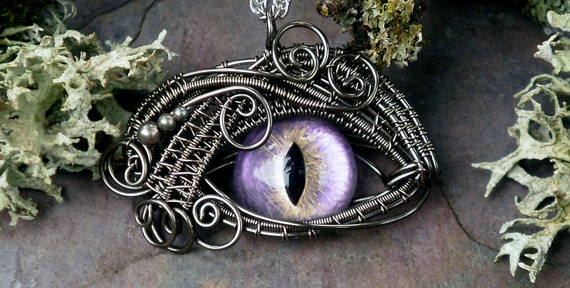 SOLD Gothic Steampunk Sable Evil Eye Pendant Color Shift Lavender