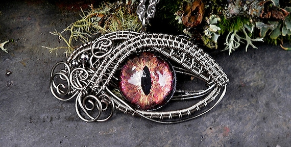 Gothic Steampunk Sable Evil Eye Pendant Gold and Red