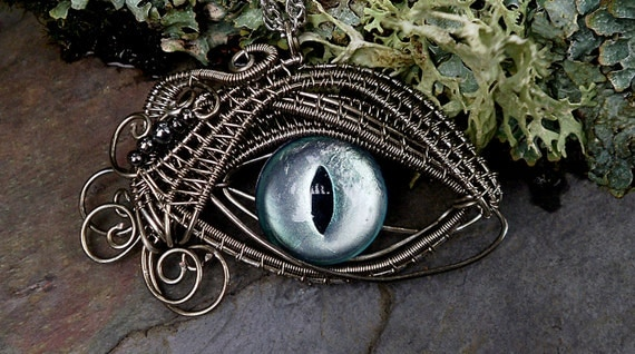 Gothic Steampunk Sable Pendant Evil Eye Mint Green