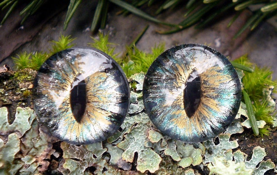 Gothic Steampunk Sterling Silver Evil Eye Earrings in Turquoise and Gold