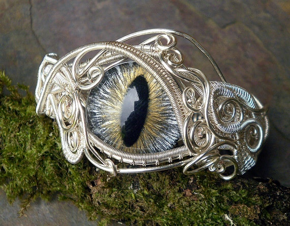 SOLD Gothic Steampunk Silver Evil Eye Bracelet in Gold Silver and Black 6 and a half inches