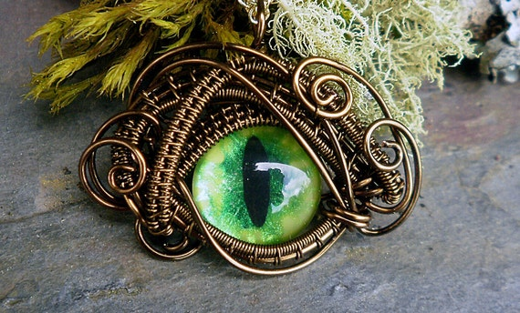 Gothic Steampunk Bronze Evil Eye Microbitty in Lime Green