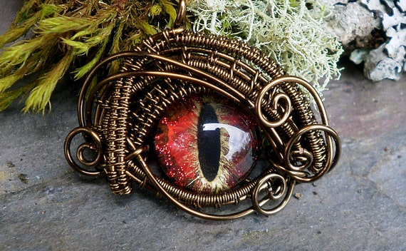 Gothic Steampunk Bronze Evil Eye Microbitty in Red Black Gold
