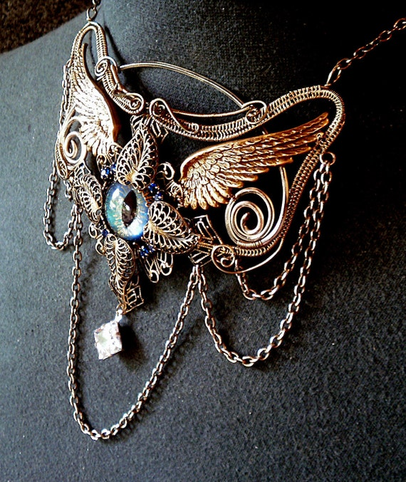 SOLD Gothic Steampunk Sable Evil Eye Necklace with Wings
