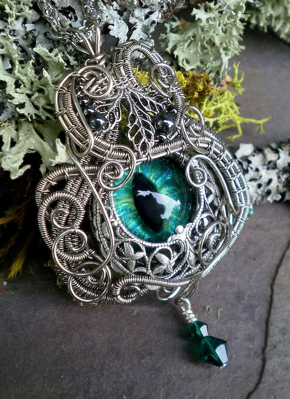 SOLD Gothic Botanical Steampunk Evil Eye Pendant with Silver Fox