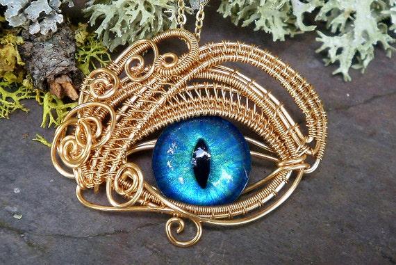 Gothic Steampunk Gold Evil Eye Pendant Turquoise Blue