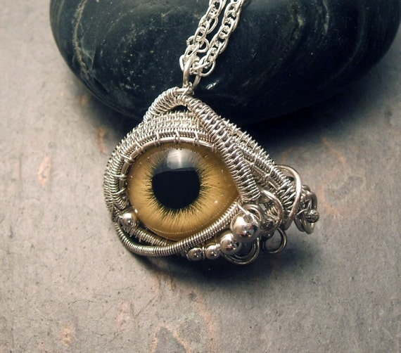 Sterling Silver Eye Pendant Steampunk Gothic Golden Evil Eye Part 5