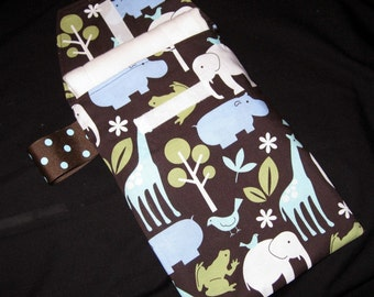 Zoology Diaper Clutch with a Pocket ribbon is Sage Green-Ready 2 Ship