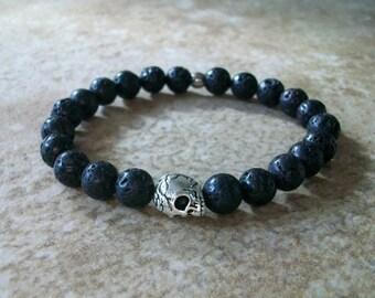 Calavera Rockstar lava stone and skull bracelet mens / unisex