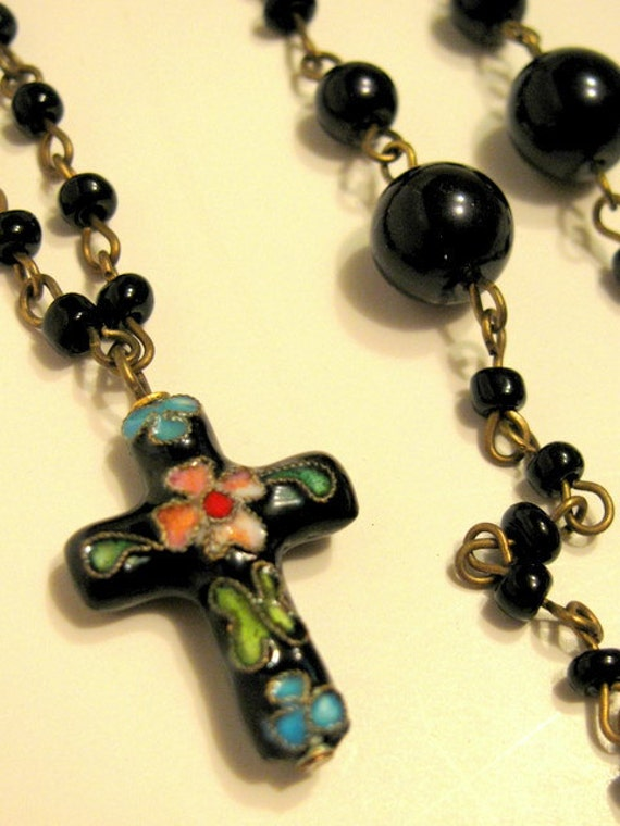 Black Cloisonné Bead And Cross Necklace