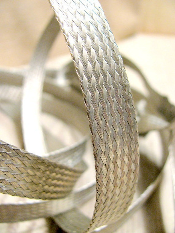 Vintage Woven Silver Metal Ribbon Assemblage Jewelry Supply