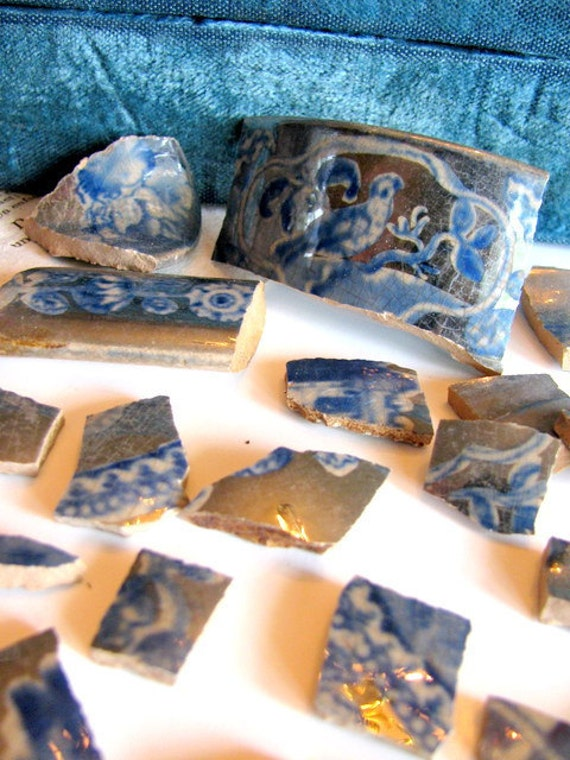 Vintage Victorian Lusterware Mosaic Tiles Group 4