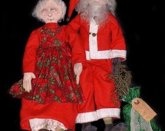 Primitive Folk Art Claus and The Mrs. Doll - Instant Download - PDF EPattern