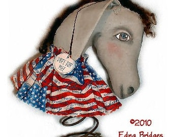 Primitive Folk Art Americana Donkey MadeDo Doll - Instant Download - PDF EPattern Sewing and Painting Pattern by Edna Bridges