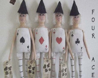 Four Aces -The Series- Primitive Folk Art Card Doll EPattern PDF - Instant Download -
