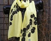Screened Yellow Cotton Jersey Scarf
