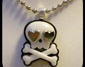 SKULLY LOVE EYES silver pendant necklace