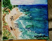 Day at the Beach Watercolor Miniature Painting