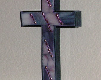 Mosaic Cross in Blue and Pink - Unique Wall Art
