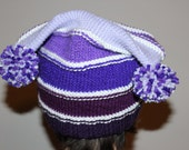 The Carrie Hat in Purple and White Stripe with a Button Tab