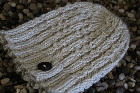 Soft Aran Cable Hat with a Button Tab- Off White/ Cream