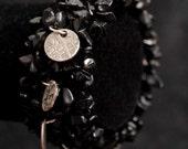 Dime and Black Tourmaline Semi Precious Stone Streatch Bracelet
